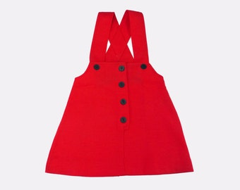 Vintage 60s Red Pinafore Dress French Stock 5-6 Years