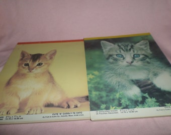 Vintage Cat Stationary paper Kittens pads of paper x's 2 write a letter journal
