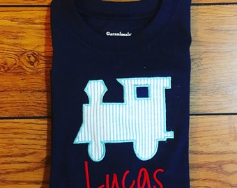 Applique Train Shirt-- personalized with name