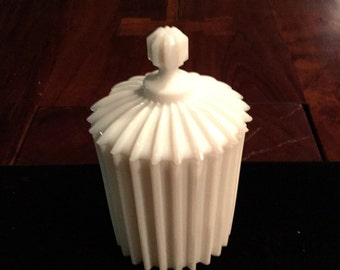 Milk Glass Rare Ridged Pattern Lidded Jar
