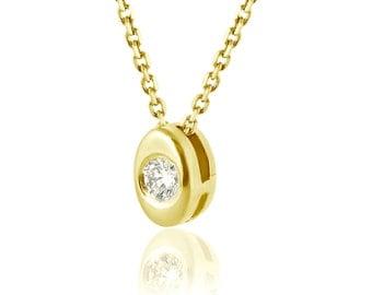 Bezel Necklace, Solitaire Diamond Necklace, 14K Yellow Gold Pendant Necklace, Delicate Gold Necklace, Solitaire Pendant