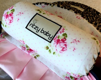 Sunshine Roses Hanky Rose Arm Pad for Infant Car Seat Handle, Optional Monogram