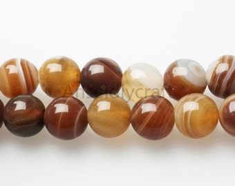 B173 Natural Brown lines Agate Beads Supplies, Full Strand 4 6 8 10 12 14mm Round Brown Agate Gemstone Beads for DIY Jewelry Making