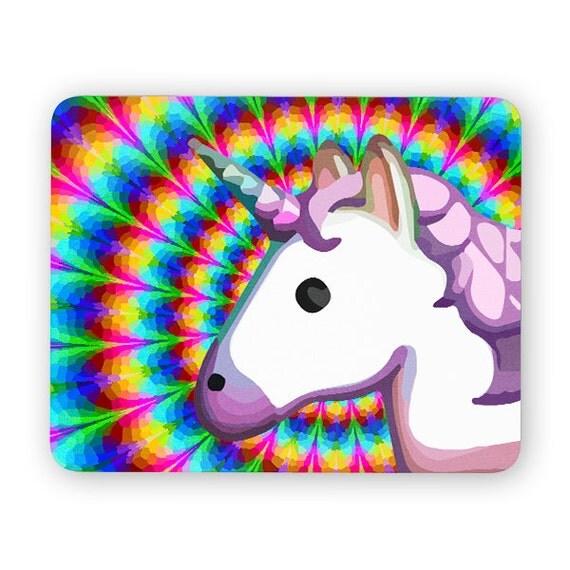 Unicorn Emoji Trippy Rainbow Mouse Pad Mouse Mat By