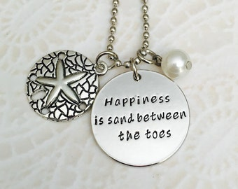 Beach necklace Happiness is the sand between my toes