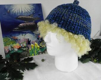 Sea Colours Pixie Hand Crochet Hat With Nobble  Size M
