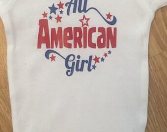 All american girl, patriotic baby onesie, baby girl onesie, 4th of july onesie, baby onesie