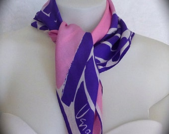 Vera scarf, 1960s asymmetrical abstract design with big brushstrokes in cool purple, pink and white.