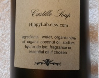 Liquid Castille soap Body Wash Hand soap Household soap 12 oz Organic Over 40 scents to choose from