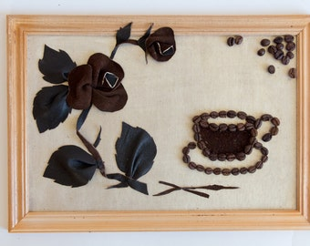 """Wall Decor """"Rose and Coffee"""", Wall decoration, Art Wall Decor, Diy Wall Decor, Textile Decor, Wall Handing, Gift"""
