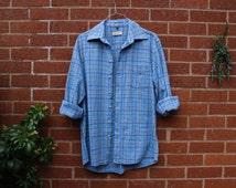 THICK BLUE FLANNEL, vintage shirt, Large shirt, checkered shirt