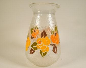 Vintage 70s glass vase, floral design, mid century