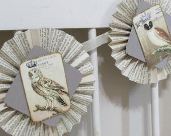 Owl rosette banner, garland, ooak, Halloween, hand made, paper decoration