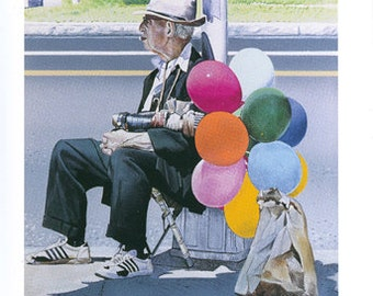 The Balloon Man  (A Worcester Memory)  15 Folded note cards - with envelopes