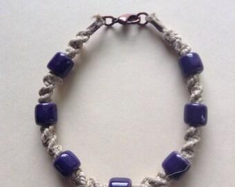 Purple beaded hemp bracelet