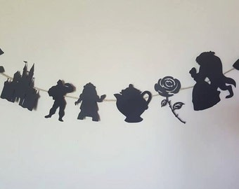 Beauty and the Beast party decor bunting beauty and the beast disney inspired disney party party decoration black decor princess party
