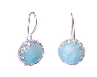 Amazonite light blue sterling silver earrings,