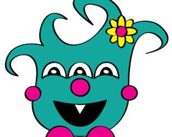Girly Monster Vector Illustration Clip Art