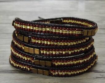 Gypsy wrap bracelet  Burgundy bead bracelet Seed bead wrap bracelet Leather wrap bracelet metalic bead bracelet 5 wraps bracelet SL-0387