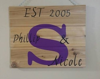 Family established sign, wood establish, personalized wedding gift, custom name sign, last name wood sign