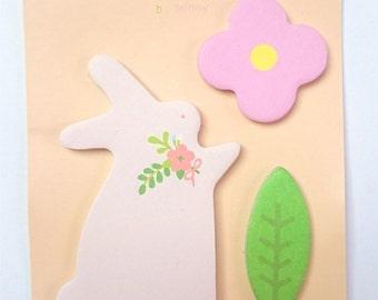 Memo rabbit flower & leaf