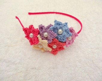 Crochet headband, crochet hairband, flower hairband, flower tiara, girls flower hairband, girls gift idea, girls tiara, toddler headband