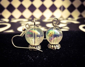 Silver Plated Crystal Ball Charm Dangle Earrings