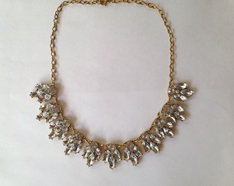 Gold Tone Faux Crystal Necklace, Bridal Necklace, Statement bib Necklace, Bridesmaid necklace
