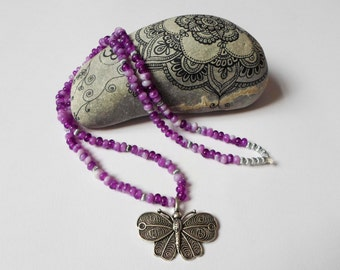 Butterfly Lilac Purple Necklace, lavender Boho Jewelry Necklace, Handmade Beaded Necklace Butterfly Pendant,  Trendy Beautiful Necklace