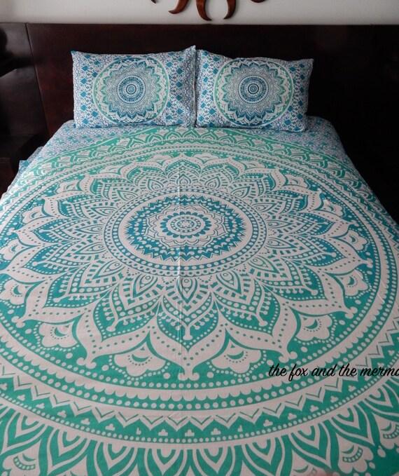 Green Ombre Mandala Tapestry Duvet Cover Flat Bed Sheet 2