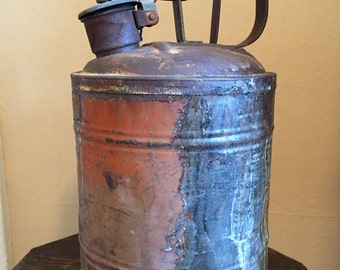 Vintage Gasoline Can; Industrial Gas Can; Gas Can; Industrial Decor; Rustic Decor; Farmhouse Decor; Large Gas Can; Metal Gas Can
