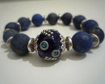 Lapis lazuli bracelet sawing
