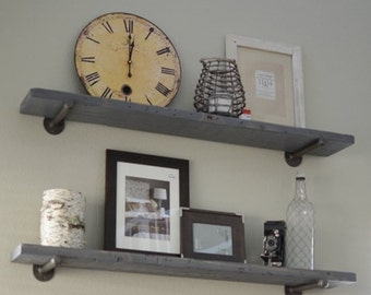 Industrial Graywash Floating Shelf with pipe brackets.  Rustic wall shelves, Wood shelf, Kitchen Farmhouse and Bathroom shelve