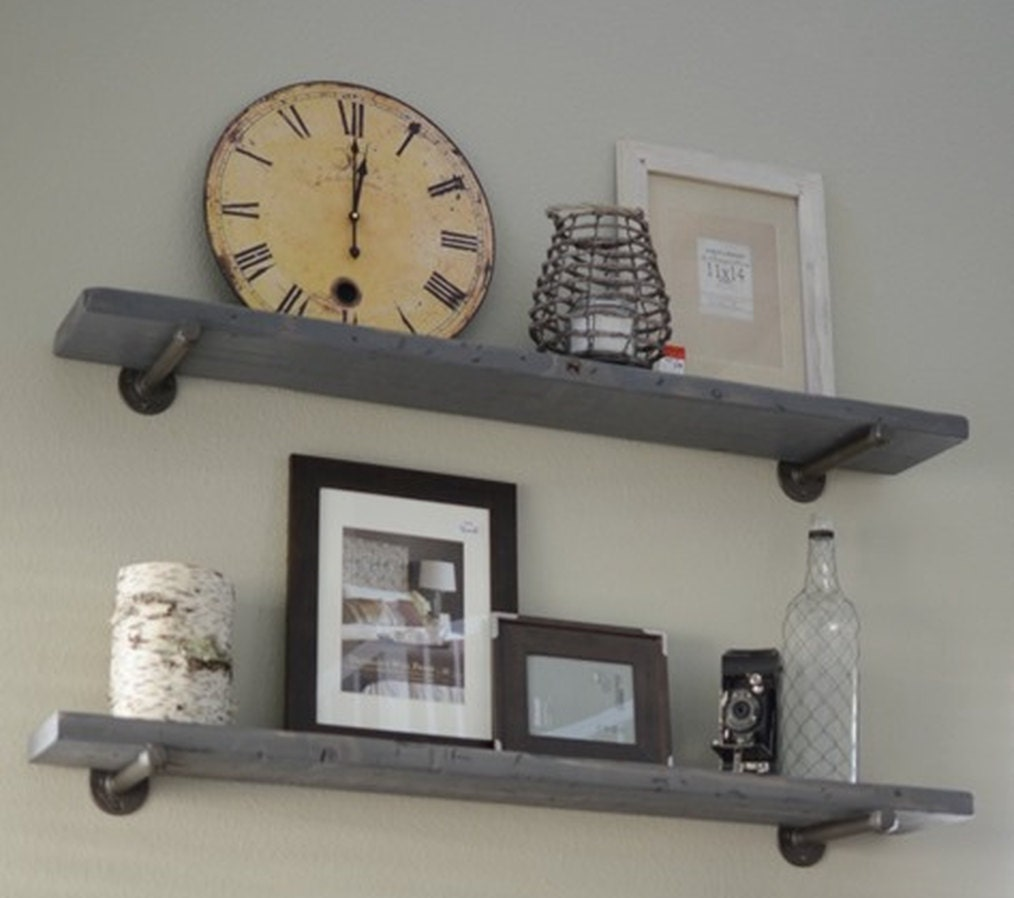 Industrial Graywash Floating Shelf With Pipe Brackets Rustic