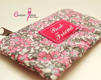 Best Friend ~ Shabby Chic daisy pink Floral Purse , pouch
