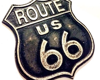 Vintage Style Route 66 Sign - Road Signs - Fathers Day Gift - Rusty Metal Signs - Hot Rod Decor - Car Theme Nursery Decor - Gifts For Dad