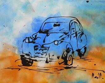 """Painting  """"La 2CV blue"""""""
