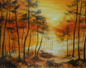 Painting Sunset on the forest