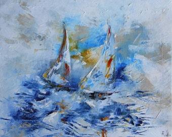 Modern painting sailboats at sea