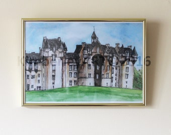 Framed Scottish Castle Print, Fyvie Castle Framed Print, Watercolour Framed Wall Print, Castle Painting Framed, Scotland Art