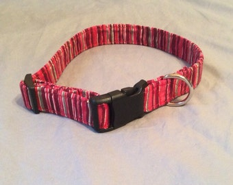 Red and Green Striped dog collar