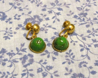 1960s Marbled Jade Screw-back Earrings