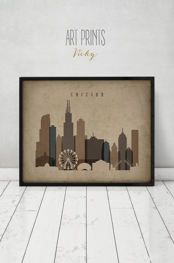 vintage home decor chicago chicago print poster wall vintage style chicago 11795