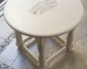 French Typography End Table
