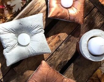 Copper concrete candle pillow