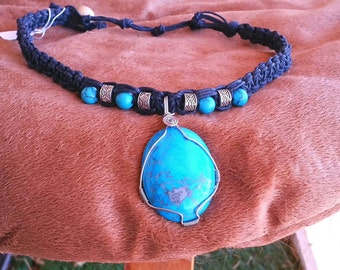 Buffalo Turquoise Necklace w  Silver accents on black cord