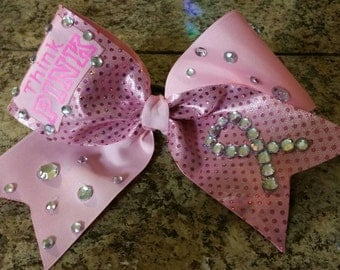 Think Pink Large Breast Cancer Awareness Cheer Bow