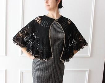 shrug, crochet poncho, black Cape, crochet, handmade,