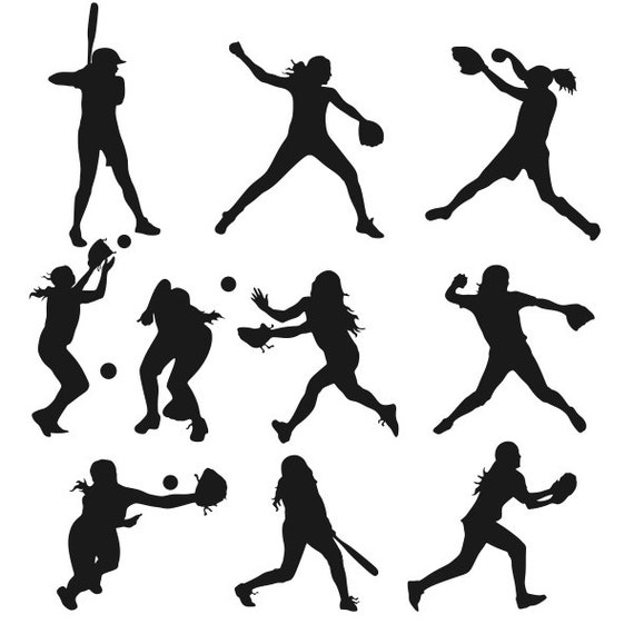 softball girls figures cuttable designs svg dxf eps use with