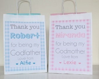 Personalised Christening, Godparents Gift Bag